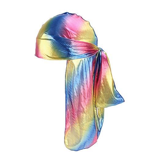 YHOUSE Hologram Silky Beanie Durag, 360,540,720 Waves Head Wrap Bandana Pirate Cap for Men Women Kids (Dark Blue)