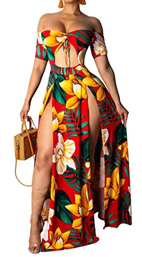 Womens Sexy Floral Print Maxi Dress One Off Shoulder Cut Out Split Short Sleeve Bodycon Party Club Dresses Red S