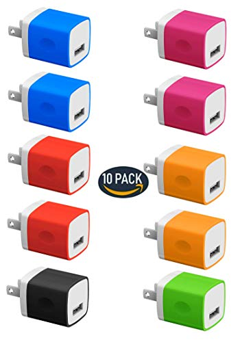 Chargers, 5W USB Power Adapter [10-Pack] Universal Wall Charger Cube for Plug Outlet for iPhone 8 / X / 7 / 6S / Plus +, Samsung Galaxy, Motorola, HTC, More (Family Pack) (Random Color)