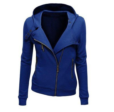 Big Color Hat XXXL Zipper Long Women DYF Coat Solid Blue Size Sleeve Pocket qHaI1fTw