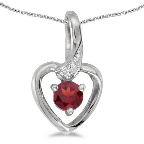 0.21 Carat (ctw) 14k White Gold Round Red Garnet and Diamond Women's Heart-shaped Pendant with 18