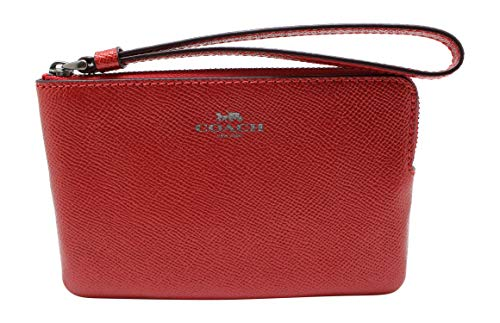 Coach Crossgrain Leather Metallic Corner Zip Wristlet (Metallic Hot ()