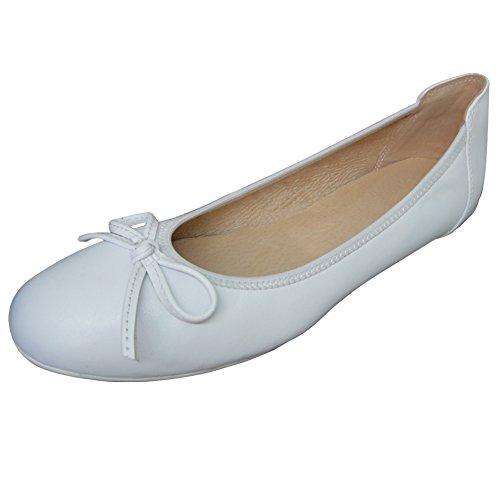 Baideng Ballerinas Damen Leder Lack Schwarz Weiß Rosa Braun 37 38 39 40 41 (Bitte Achten Sie Darauf, dem Linken Bild zu Folgen, um Die Fußlänge zu bestimmen) Weiß