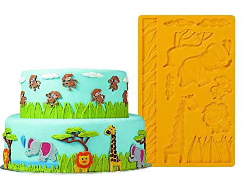 - 3D Lace Zoo Silicone Embossing Mold, Animal Jungle World Fondant Cake Mold, Cake Decoration Candy Making Mold