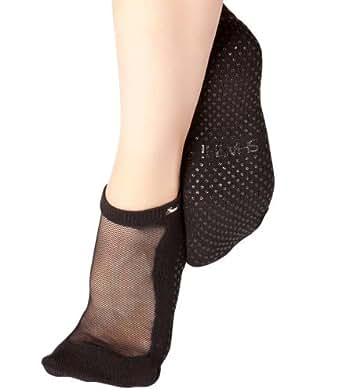 Shashi Mesh Non Slip Ergonomic Socks For Pilates Barre Ballet Yoga Dance (X-Small (4.5 to 5), Black)