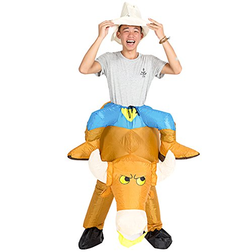 Halloween Costume Bull Riding (Inflatable Bull Costume Fancy Dress Cool Funny Cattle Cowboy Funny Suit Mount For)