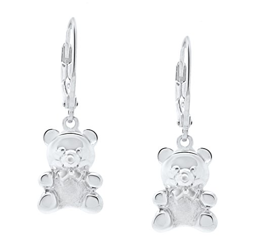 Sterling Silver Teddy Bear Earrings Jewelry for Women