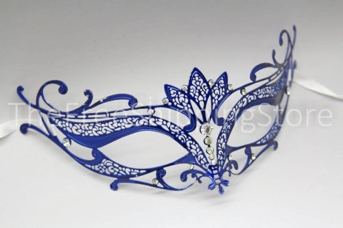 Majestic Blue Laser Cut Venetian Mardi Gras Masquerade Mask with Diamonds