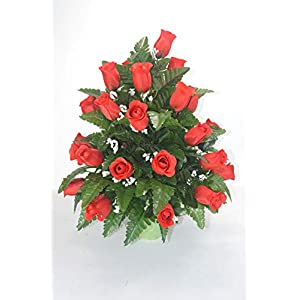 RC2 Red Rose Cemetery Flower, Spring Cone Flower, Cone Arrangement, Grave, Tombstone Arrangement. 13