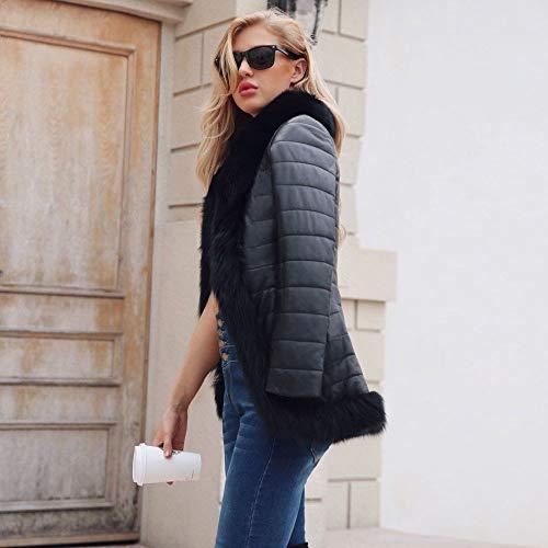 Overcoat Femme Rembourrée Parka Cuir Chaud Avec En Veste Hiver Noir Manteau Capuche Fourrure Zippée Keerads Outwear BdOw6B