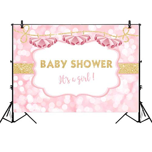 Allenjoy 7x5ft It's a Girl Theme Ballerina Backdrop for Tutu Glitter Gold Newborn Baby Shower Background Happy 1st First Birthday Party Cake Dessert Table Decor Decoration Banner Photo -