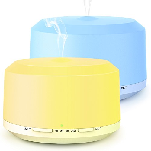 Aromatherapy Diffusers for Essential Oils 2 Pack, 450ml Essential Oil Diffuser and Humidifiers for Large Room with Adjustable Mist Mode, 4 Timer Settings, 8 Colors Light - LUSCREAL by Luscreal