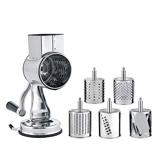 Stainless Steel Cheese Grater Rotary Chopper - MASTER FENG 5 Blades Included Kitchen Vegetable Shredder Salad Slicer, Multi-Use Hand Cutter Graters for Nut, Potato