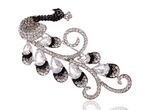 Black White Flourish Tail Mod Peacock Crystal Rhinestone Chic Brooch