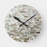 McC538arthy 15 Inch Wooden Wall Clock Faux Mother of Pearl Round Wall Decor for Kitchen, Living Room, Bedroom, Office