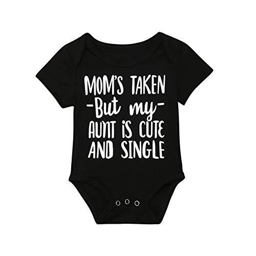 rechange Infant Toddler Baby Boy Girl Mom Aunt Funny Saying Short Sleeve Romper Bodysuit Jumpsuit (3-6 Months, Black)