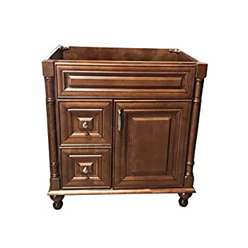 Image of Home Improvements Maple Walnut solid wood Single Bathroom Vanity Base Cabinet 30' W x 21'D x 32' H (Left Drawers)