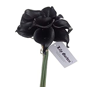 "Lily Garden Mini 15"" Artificial Calla Lily 10 Stem Flower Bouquets (Pure Black) 54"