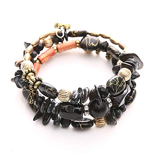 Woven Mesh Bracelet Hand - DARLING HER Bohemian Hand-Woven Bracelet for Female Fashion Popular Bracelet for Women Jewelry Color Rope Chain Bracelets Black