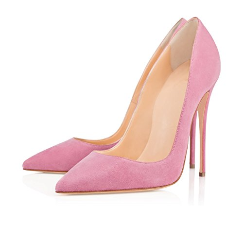 Soireelady Womens Pointed Toe High Heel Dress Court Shoes 12cm Stilettos Pink 0QtSLY3