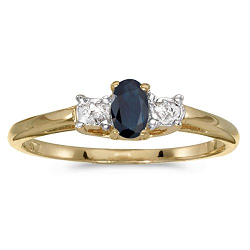 Jewels By Lux 14k Yellow Gold Genuine Blue Birthstone Solitaire Oval Sapphire And Diamond Wedding Engagement Ring - Size 4.5 (1/4 Cttw.)