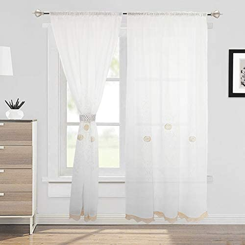 ZHH Classical Curtains Handmade Hollow Crochet Romantic Window Curtain Panel Christmas Gift 59 by 101-inch – 1 Piece