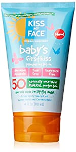 Kiss My Face Baby's First Kiss Mineral Lotion Sunscreen SPF 50, Tear-Free Sunblock for Kids, 4 Ounce