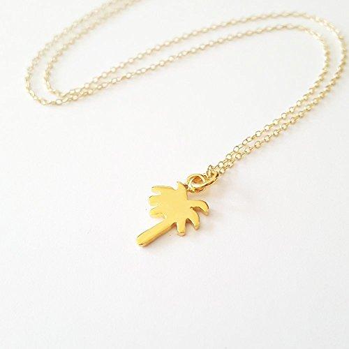 Palm Tree Gold Vermeil Pendant - Gold Palm Necklace