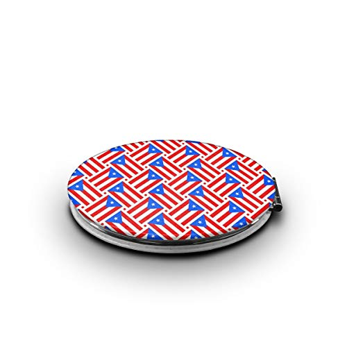 ZORITO Makeup Mirror Puerto Rico Flag Weave Double-Sided Portable Folding Mirror Stainless Steel Shatterproof