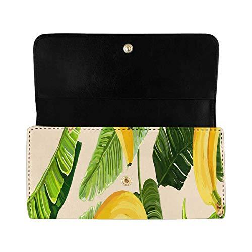 InterestPrint Women's Trifold Clutch Wallets Floral Summer Banana PU Leather Card Holder