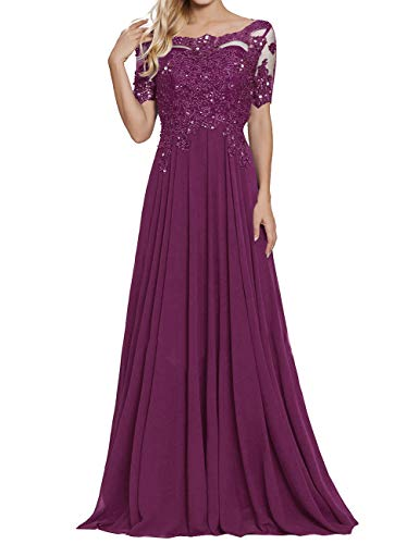 Mother of Bride Dress Scoop Neck Beaded Appliques A Line Evening Dress Plum US10