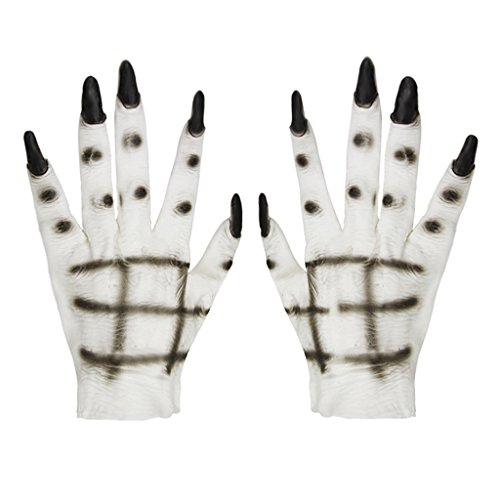 Unisex Halloween Cosplay Gloves Winter Plush Animal Costume Dinasour Pet Bear Panda Cat Paw Claw Hand Gloves Teens Kids Cute Cartoon Mittens Fancy Party Role Play Props Xmas Gift (ghost)