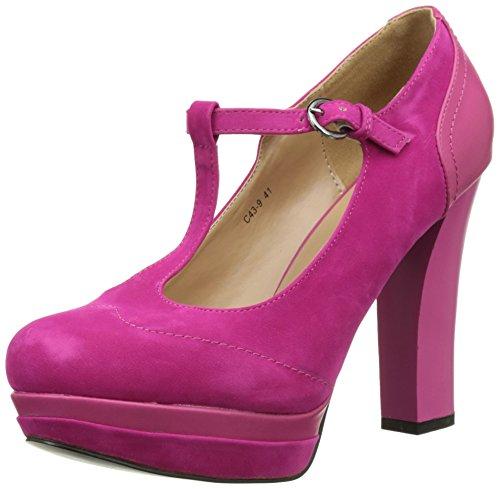 Zapatos fucsia material bi 11,5 cm con reborde y con tacones de plataforma y