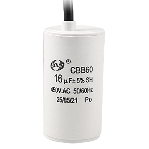 Uxcell a11112200ux0294 Washing Machine CBB60 16uF 5% 50/60Hz 450V AC Motor Running Capacitor