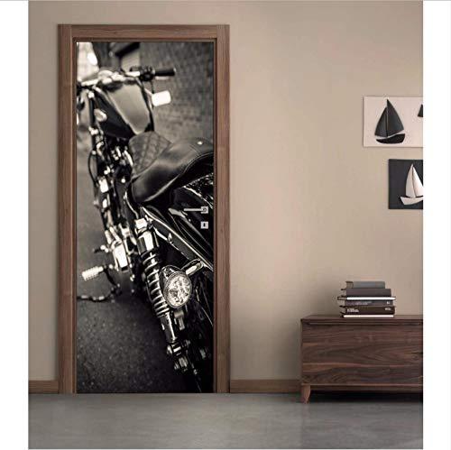 DIY Adesivo murale Porta Poster Fotografico Porta Carta da Parati Porta Autoadesivo Rimovibile Moto 3D Harley Decorativa da Parete PVC 77X200CM HLLCY
