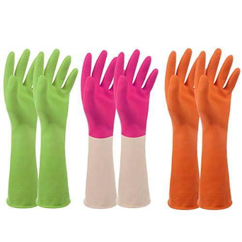 Rubber Household Cleaning Latex Gloves – Set of 3, PEGZOS Reusable Kitchen Natural Rubber Living Wash Gloves, with 3 Colors (Green/Orange/Pink) / 3 Sizes (S/M/L) (Color Latex)