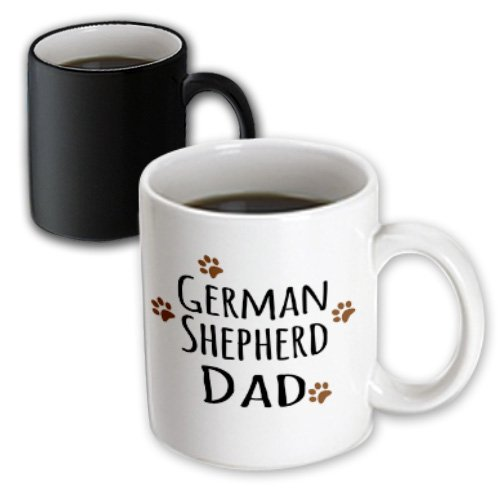 3dRose mug_153912_3 German Shepherd Dog Dad Alsatian Doggie By Breed Brown Muddy Paw Prints Doggy Lover Magic Transforming Mug, 11-Ounce -