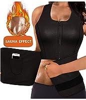 LODAY Women Neoprene Body Shaper Sauna Suit Gym Workout Tank Top Vest with Adjustable Waist Trainer Trimmer Belt (Black(Zipper Sweat Shirts), XL (US 8))
