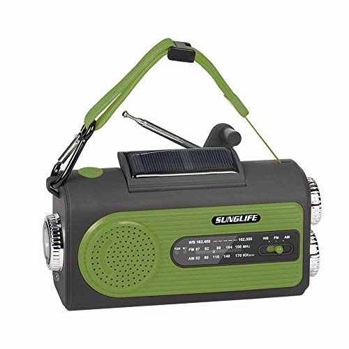 SUNGLIFE Solar Crank NOAA Weather Radio for Emergency with AM/FM, Flashlight, Reading Lamp, 2000mAh Power Bank USB Charger and SOS Alarm, Green