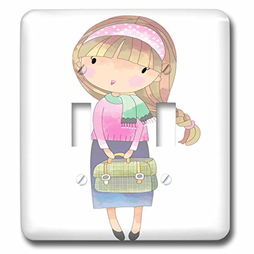 Switch Age Covers Light (3dRose Anne Marie Baugh - Illustrations - Cute Teenage Girl With Purse Illustration - Light Switch Covers - double toggle switch (lsp_254873_2))