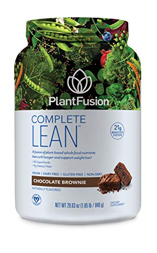 Plant Fiber (PlantFusion Complete Lean Plant Based Weight Loss Protein Powder, Chocolate Brownie, 29.06 oz  Tub, 20 Servings, 1 Count, Gluten Free, Vegan, Non-GMO, Packaging May Vary)