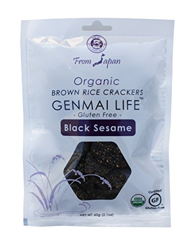 Muso From Japan Genmai Life Organic Brown Rice Crackers, Gluten Free, Black Sesame with Tamari, 2.1 Ounce, 12 Count