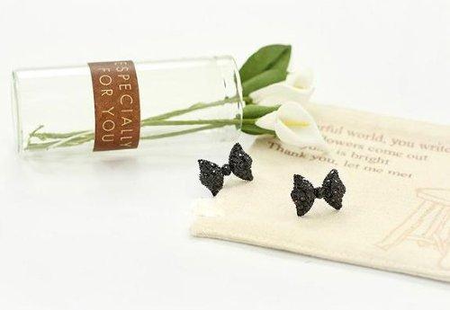 ATM FashionWorld Fashion Cute Black Bowknot Attractive Small Stud Temperament Joker Party Earrings No.3