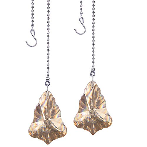 H&D 50mm Crystal Champagne Maple Leaf Pendant, 2pcs Crystal Ceiling Fan Pull Chains