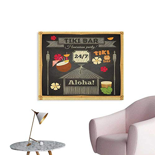 Anzhutwelve Hawaii Photographic Wallpaper Traditional Tiki Bar Poster Design with Coconut Drink and Aloha Slogan Bamboo Frame Cool Poster Multicolor W32 xL24