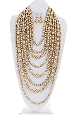 Audrey Multi-Strand Simulated Pearl Statement Necklace and Earrings Set Gold Tone (Multi Strand Statement Necklace)