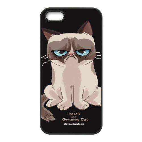 Grumpy Cat Cartoon Meow 002 coque iPhone 5 5S cellulaire cas coque de téléphone cas téléphone cellulaire noir couvercle EOKXLLNCD24149