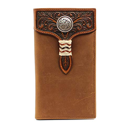 Ariat Men's Distressed Circle Concho Rawhide Rodeo Wallet, Brown