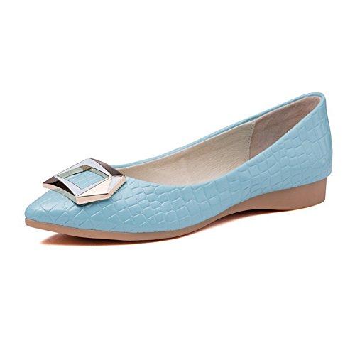 AllhqFashion Damen Rein Mattglasbirne Ohne Absatz Ziehen auf Spitz Zehe Flache Schuhe, Grau, 33