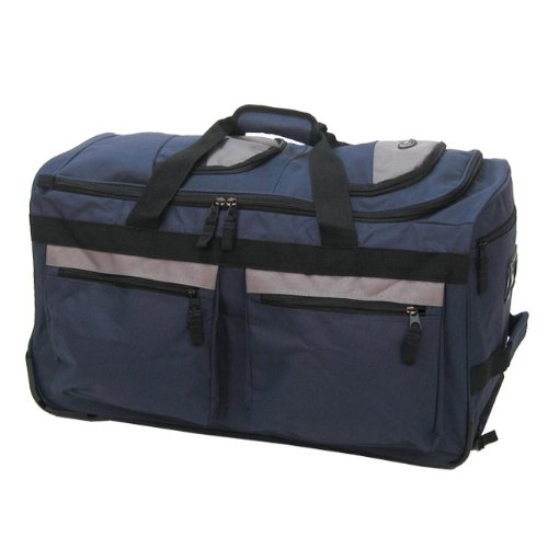 "Olympia Luggage 29"" 8 Pocket Rolling Duffel Bag, Navy, One Size"